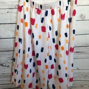 Lane Bryant Pants - Lane Bryant Pleated white wide leg culottes pants